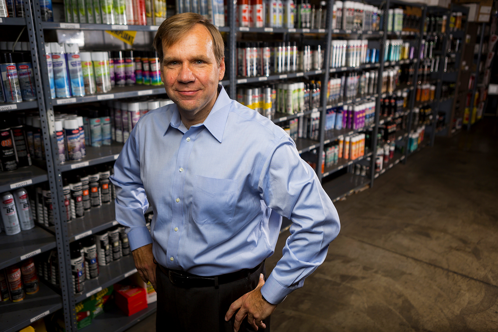 Ed Byczynski, President and CEO of PLZ Aeroscience Corporation poses for a portrait at their distribution center in Addison, Il on July 31, 2015. Manuel Martinez/ Crains Chicago Business