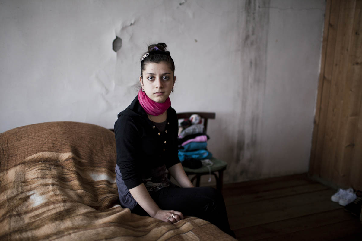 Leila, a 14-year-old girl from Zugdidi, Georgia. She escaped her home at age 13 to live with a boy she fell in love with on social media.Traveling from Apkhazia to Georgia, they crossed over the Enguri River which forms the border between the breakaway region of Abkhazia and the rest of Georgia. Leila, having no travel documents, had to swim across the river quietly at midnight, crossing to Georgia, bypassing Russian and Aphkhazian militants.