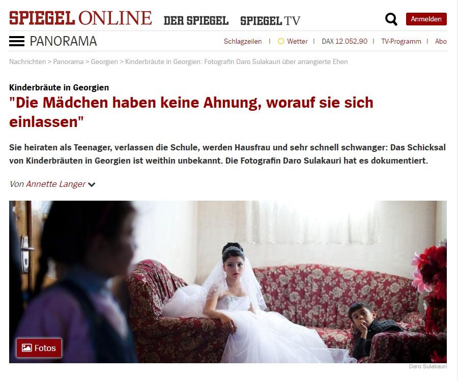Early Marriage project published in Der Spiegel , follow the link for full story: http://www.spiegel.de/panorama/kinderbraeute-in-georgien-fotografin-daro-sulakauri-ueber-arrangierte-ehen-a-1136572.html