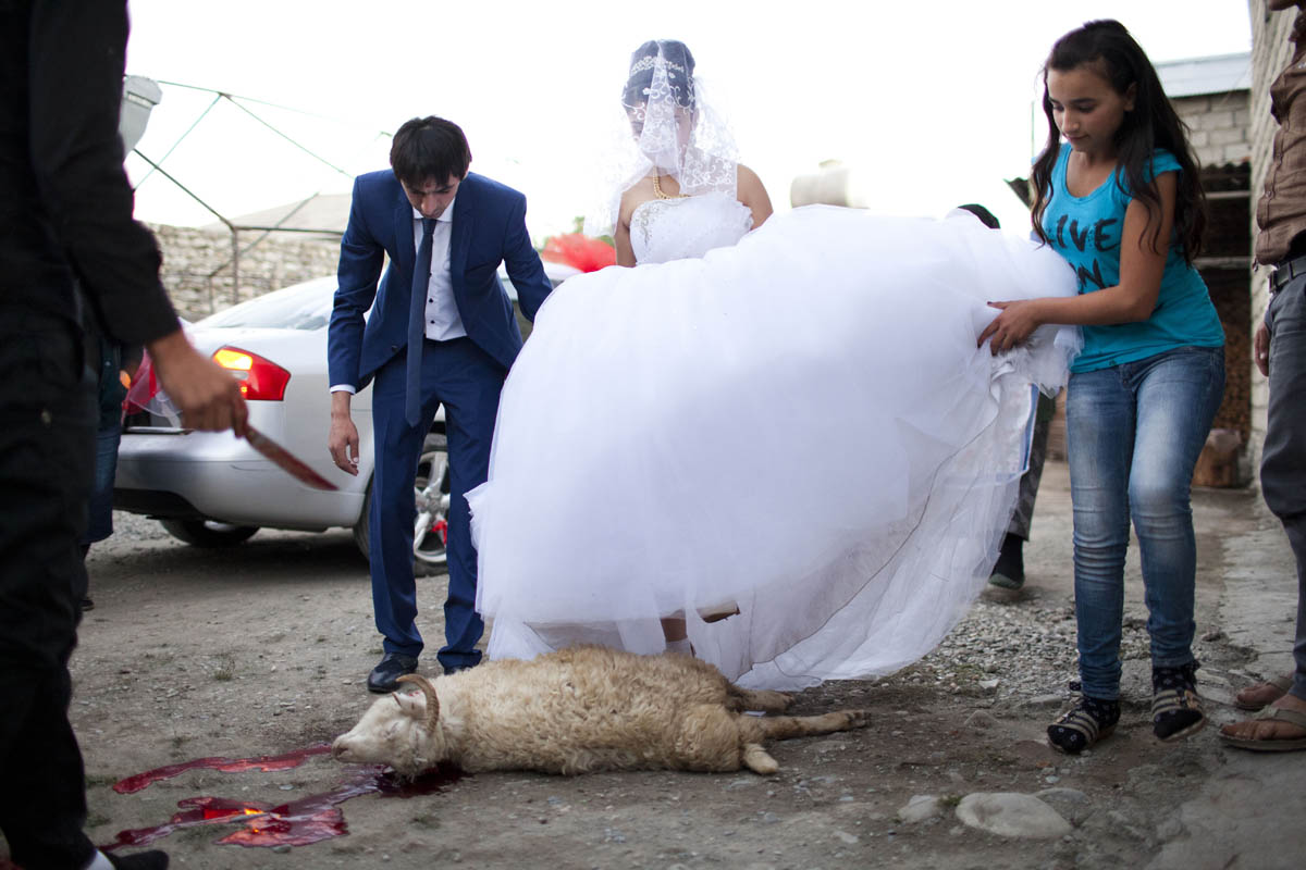 GEORGIA. 2014. GEORGIA. Georgian-Azeri Bride 17y. and groom 22y. Wedding day.  Sheep is sacrificed and cut under the feet of the bride by the relatives of the groom. The ritual follows by the mother of the groom marking with sheep's blood the forehead of the bride and the groom as a blessing.
