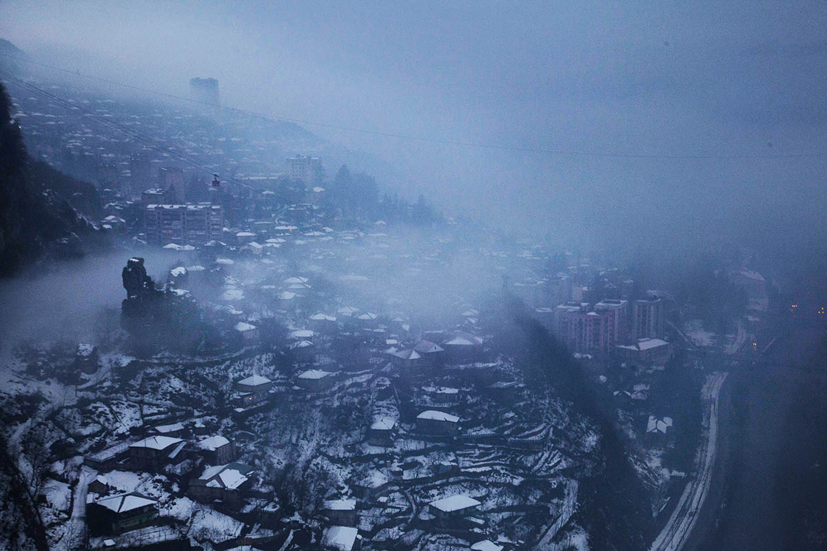 GEORGIA. A view of the mining city, Chiatura, covered in snow.