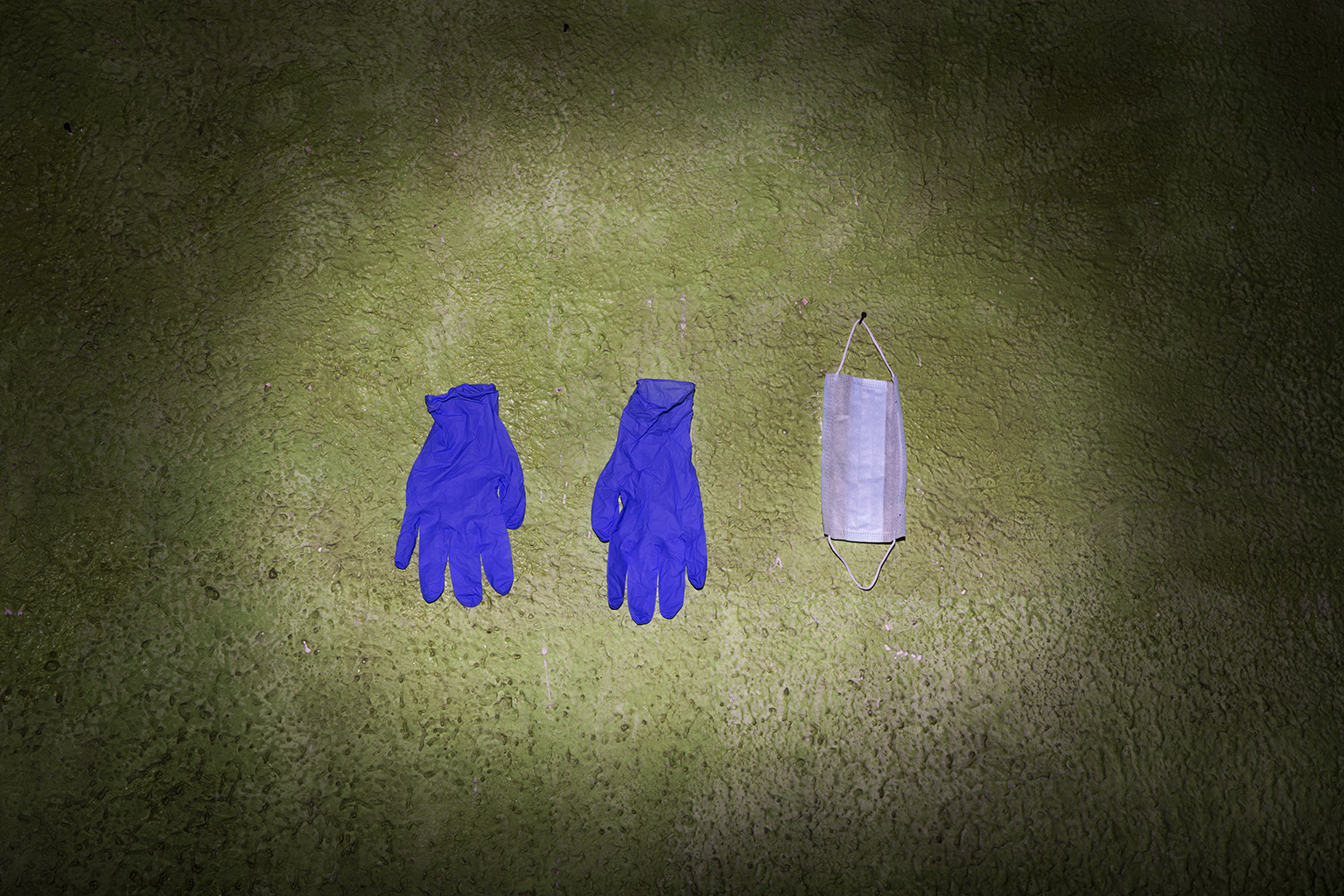 My uniform: gloves, mask and a shield. Like a wear my shoes  to go out, I wear these.
