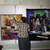 Mom mom at her studio, working. Now that it's lockdown she finds more time to work.