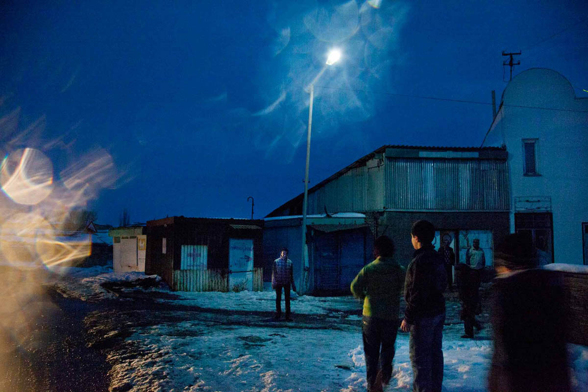 "Georgia, 2012. Samtskhe – ­Javakheti region, Akhalkalaki City. At evenings local children come outside to play a game named ""havalastop"". {quote}You will find it very rare that georgian and armenian children are playing together in a team{quote}, says a young local boy."