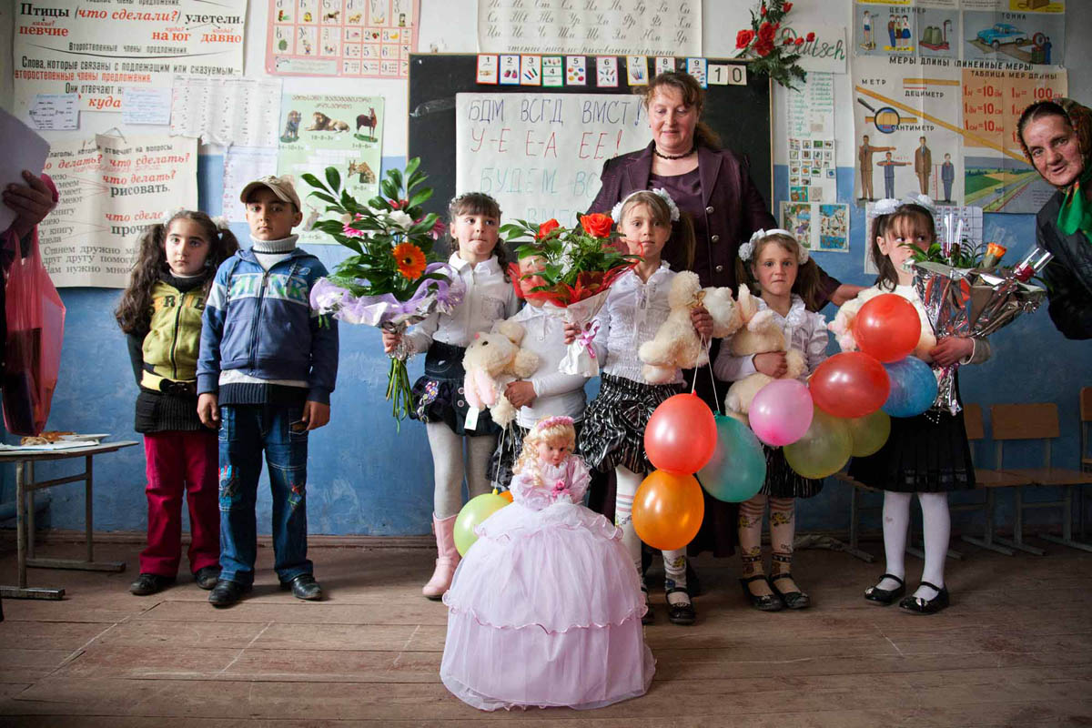 Georgia, 2012. Samtskhe – ­Javakheti region, Gorelovka Village. Russian School. Dukhabors on the right and armenian brother and sister on the left.