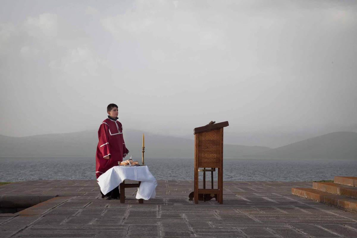 Georgia, 2012. Samtskhe – Javakheti region, Poka Village, near Orthodox church. Georgians celebrating orthodox St. Nino's Day.There has been religious conflicts throughout the years between Armenians and Georgians.