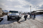 Georgia, 2013. Samtskhe – ­Javakheti region. Hummer Jeep rented for the newly weds in the remote village of Orja.