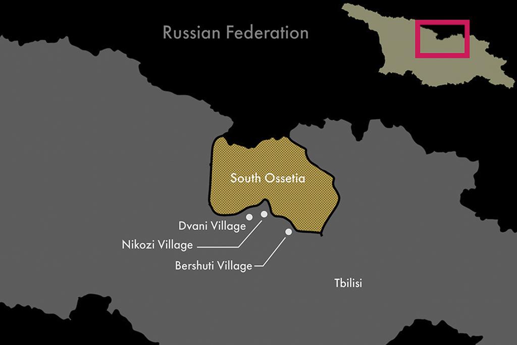 Georgia; Yellow - breakaway region of South Ossetia.Dvani, Nikozu, Beshueti - villages I visited.