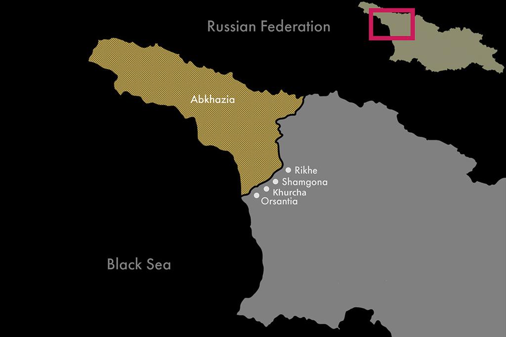 Georgia; Yellow - De facto region of Abkhazia.Rikhe, Shamgona, khurcha, Orsantia - villages I visited. Tkhaia, Pakhuliani .. ongoing.