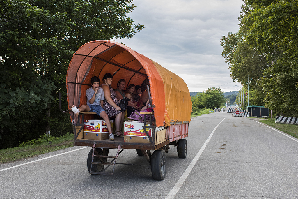 2017. Georgia, locals with Abkhazian or Russian documents on the road to Enguri checkpoint, which is counted to be the only remaining checkpoints between the de facto region of Abkhazia and Georgian controlled territory. It is almost unreal to cross with a Georgian Passport.