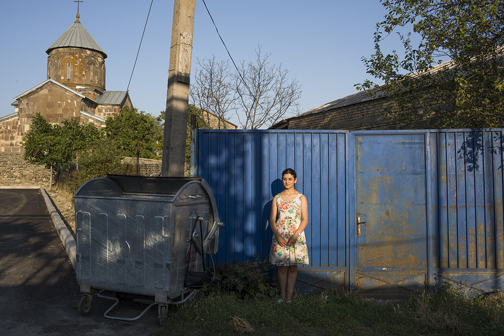 2017.  Georgia, Nikozi Village. Mariam, 18 years old. Living close to the occupied territory, remembers the war with Russia in 2008, says she will never forget it. Her village was bombed during the war.