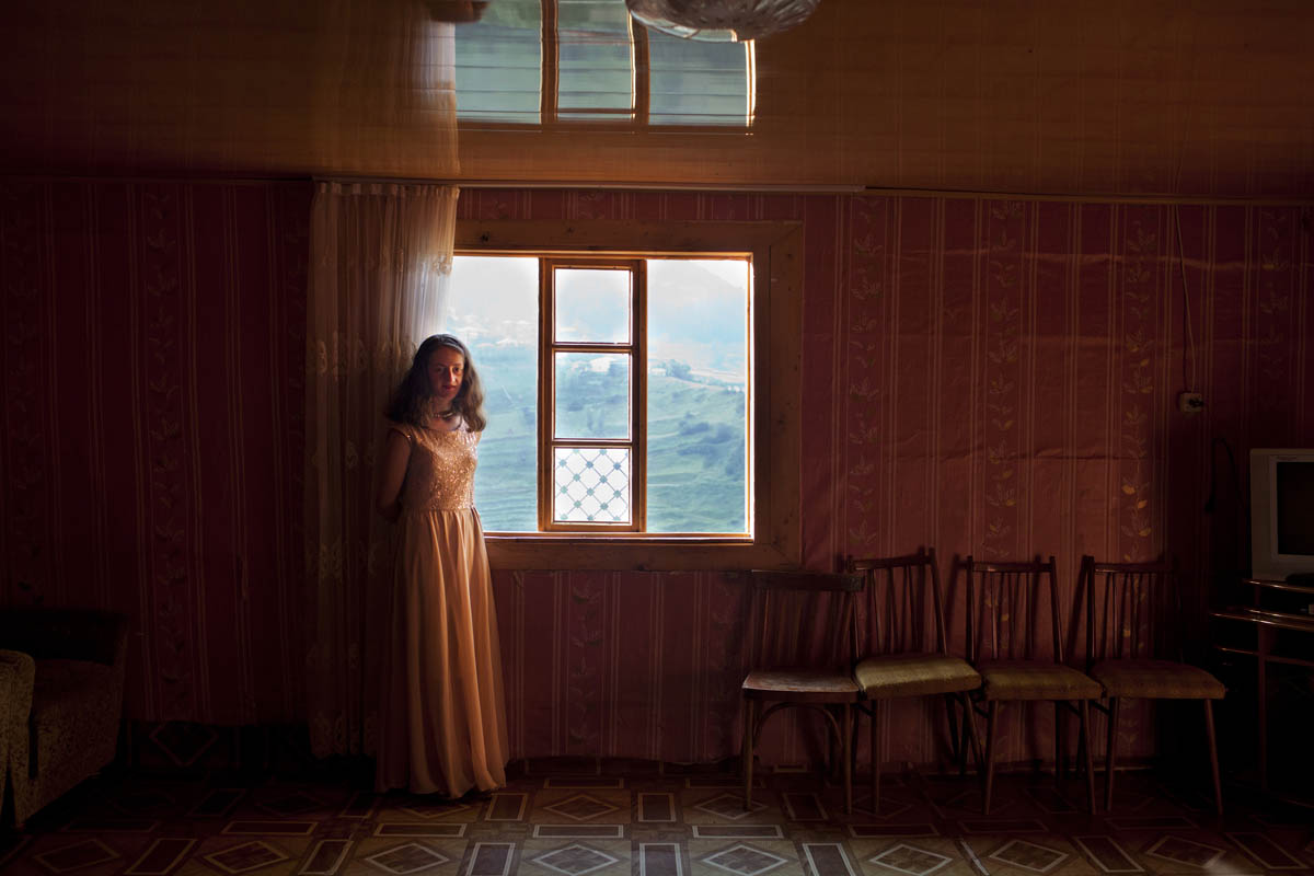 GEORGIA. 2015. Zemo Adjara. Village Ghorjomi. Tamro, dresses for her sister's engagement party.