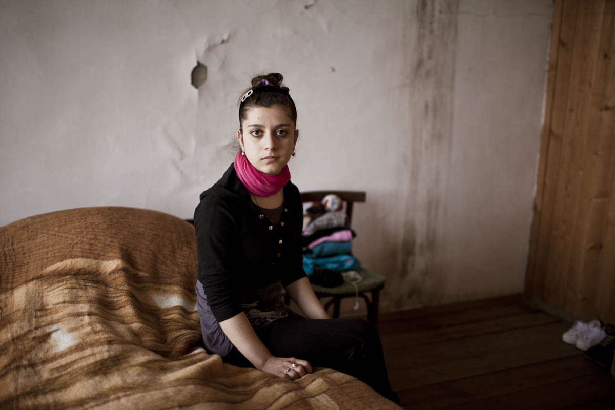 GEORGIA. 2015. Leila escaped home to be with a boy, she met online. She is 14, a housewife, living in Georgia with her future husbands family.