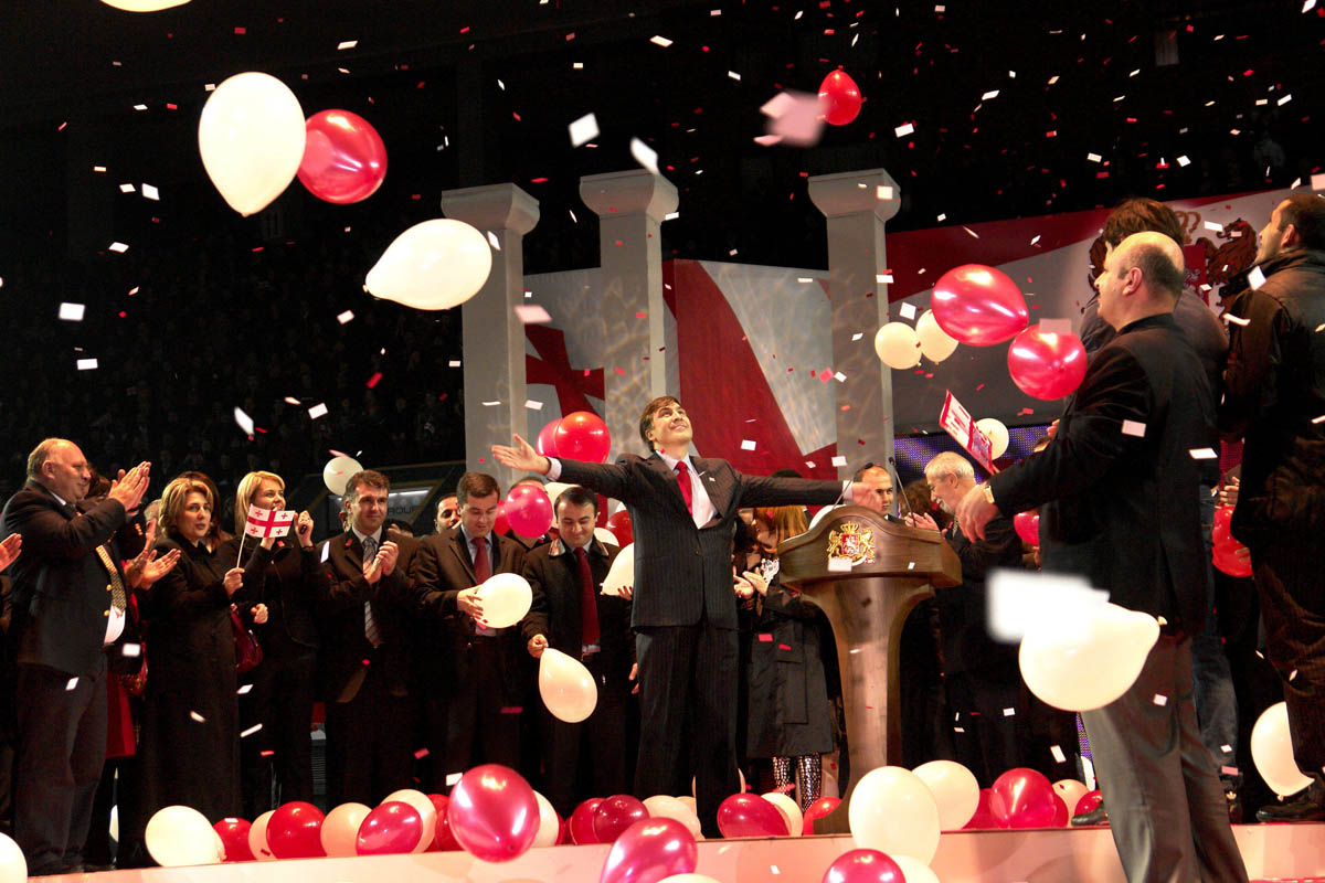 GEORGIA. 23 November. 2007. Georgia's current president Mikheil Saakashvili has been nominated as the candidate of presidency at the congress of the ruling party, United National Movement held in Tbilisi Sport Palace.
