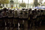 GEORGIA. 2007. Tbilisi. Georgian police armed with batons. On Wednesday police broke up a six-day protest calling for the resignation of the Mikheil Saakashvili, President of Georgia, but opposition leaders vowed defiance and called on supporters to rally again.
