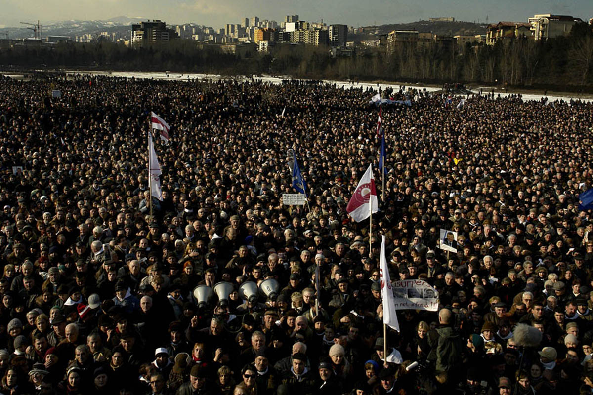 GEORGIA. Tbilisi.  2008. A peace Rally. Opposition candidate, Levan Gachechiladze making a speech, while the crowd listens in silence.Levan Gachechiladze, Georgian politician, who ran as the main oppositional candidate in the 5 January Georgian presidential election.