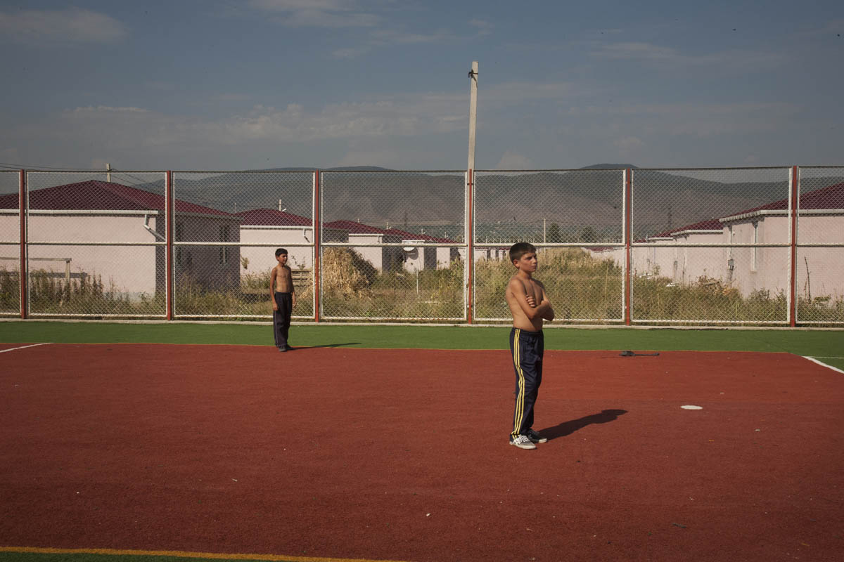 2010. Georgia. A sport field. Tserovani; An iDp settlement for 2,001 Georgian families from south Ossetian war in 2008. It's one of largest village that contains two thousand cottages that were built in two month by the Georgian government.