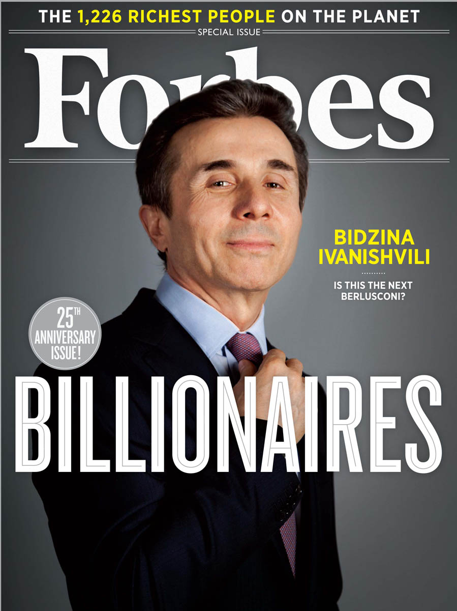 Forbes Magazine 25 Anniversary Issue Billionaires March 26, 2012.Cover: Bidzina Ivanishvili, a  Georgian politician and businessman.