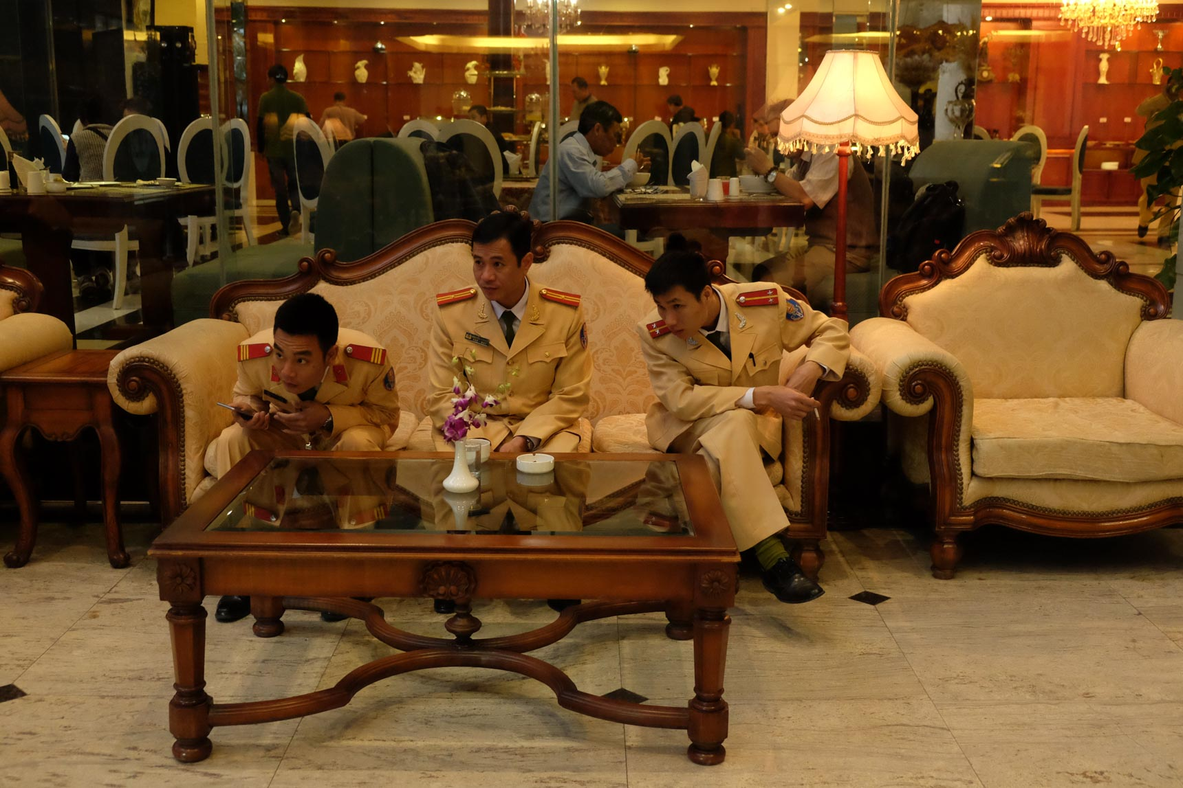 Military Officers in Hotel Lobby