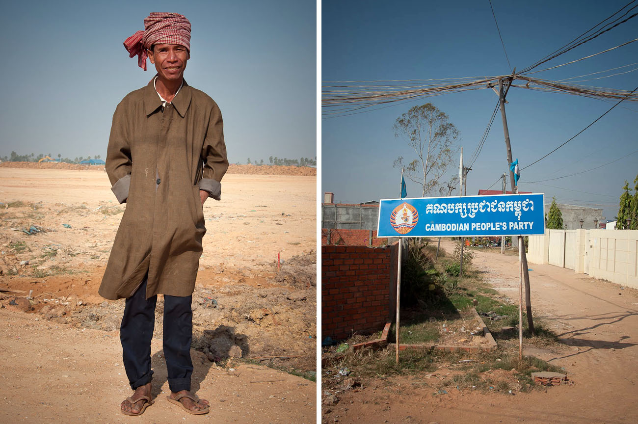 Outside of the lodging huts for construction workers near the New World mega housing project on the outskirts of Phnom Penh. December 2011