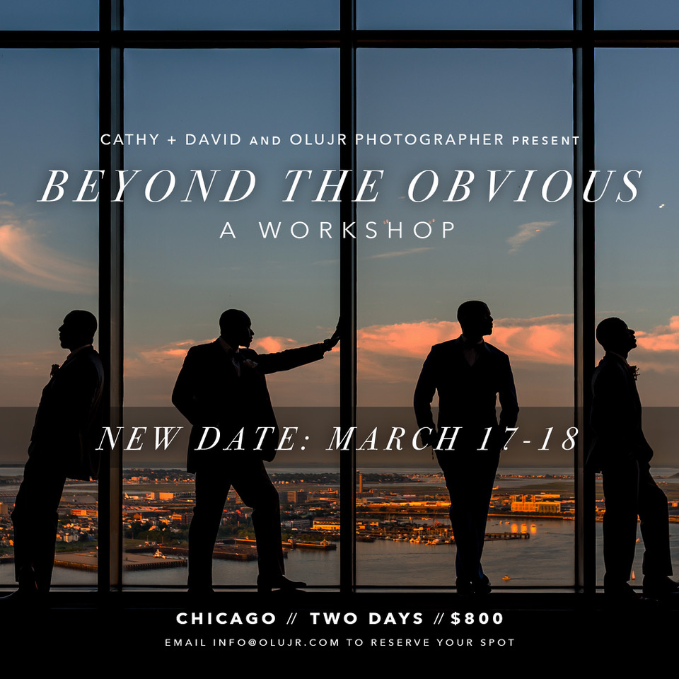 The workshop will be hosted by Chicago based Award Winning Photographers Olu Jr., Cathy & David. BEYOND THE OBVIOUS. An intensive, two-day photography workshop designed to challenge you to rethink the way you approach wedding photography and take your craft to the next level. We want to share everything we've learned over the years and how to apply it.It will take place in Chicago, Illinois on March 17th & 18th.The fee for the workshop is $800 ($100 OFF for ISPWP members). Over the course of the Two-Day workshop we will discuss the following: Off Camera FlashCapturing real momentsPost processing techniques and workflowManage client expectations from booking to delivery.Improve your client's album experience for better sales.In-depth critique of your website and portfolio.Answer all possible questions and more.To learn more, visit http://cathydavidphoto.com/beyondtheobvious/ Register hereThanks to our sponsors: ISPWP, DVLOP, Motibodo, Renaissance Albums, Tave, smartslides and more, we will be giving away lots of prizes Please fill out the registration form. Seats are limited to 12 students. 5 seats left.