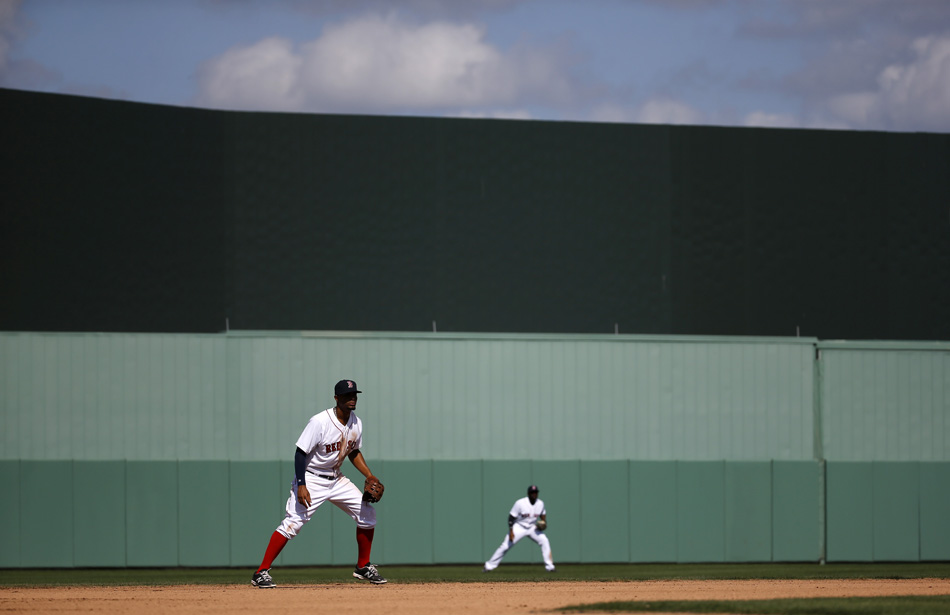 Boston Red Sox shortstop Xander Bogaerts, left, stands in the infield during a game against the Minnesota Twins in Fort Myers, Fla.