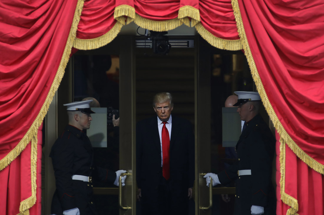 President-elect Donald Trump waits to step out onto the portico for his Presidential Inauguration at the U.S. Capitol in Washington.
