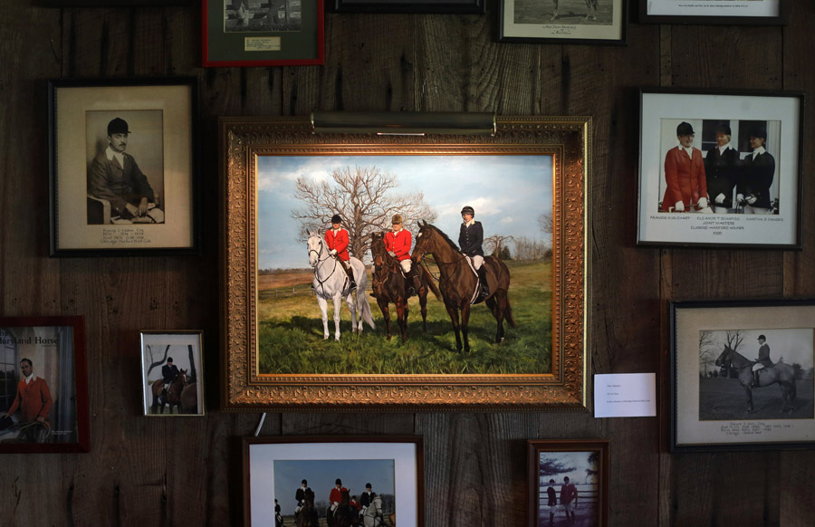 Artwork decorates a wall inside the Elkridge-Harford Hunt Club's clubhouse in Monkton, Md.