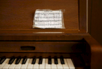 A song is taped to a piano during a church service in the community of Rhodes Point on Smith Island, Md.