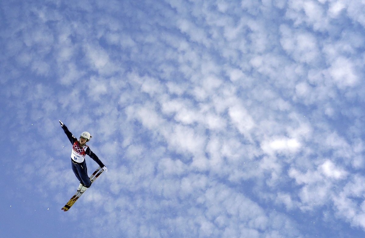 Ashley Caldwell of the United States jumps during women's freestyle skiing aerials training at the Rosa Khutor Extreme Park at the 2014 Winter Olympics in Krasnaya Polyana, Russia.