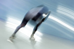 A South Korean speedskater trains during the 2014 Winter Olympics in Sochi, Russia.