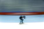 Shani Davis of the United States competes in the men's 1,000-meter speedskating race during the 2014 Winter Olympics, in Sochi, Russia.