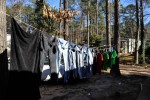 Clothes hang outside Sandra Juarez's mobile home in Athens, Ga., Wednesday, Feb. 6, 2013. (AJ Reynolds/The Athens Banner-Herald)