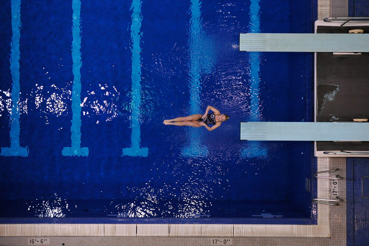 Ann-Perry Blank dives in the women's one meter finals during the SEC Swimming and Diving Championships at the Gabrielson Natatorium in Athens, Ga., Tuesday, Feb. 18, 2014. Blank won the event. (AJ Reynolds/Staff, @ajreynoldsphoto)