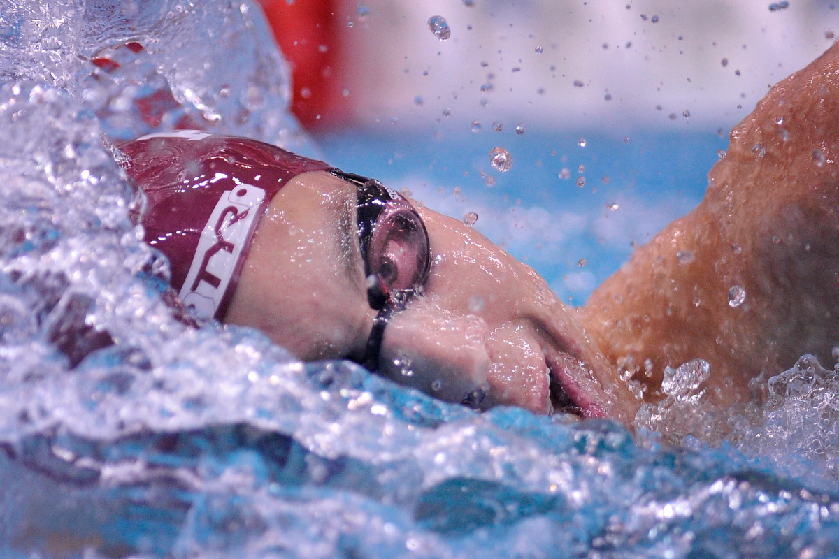 Texas A&M's Hunter Funk swims during the men's 800 yard freestyle relay during the SEC Swimming and Diving Championships at the Gabrielson Natatorium in Athens, Ga., Tuesday, Feb. 18, 2014. (AJ Reynolds/Staff, @ajreynoldsphoto)