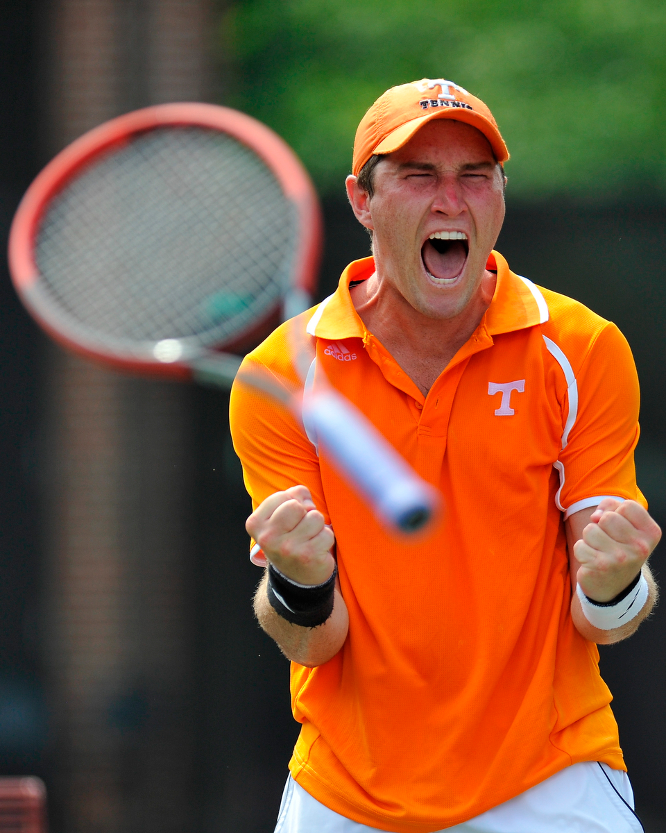 Tennessee's Hunter Reese reacts after winning the final round of the NCAA tennis championship doubles tournament in a third set tiebreaker over Ohio State on Monday, May 26, 2014, in Athens, Ga. (AJ Reynolds/Staff, @ajreynoldsphoto)