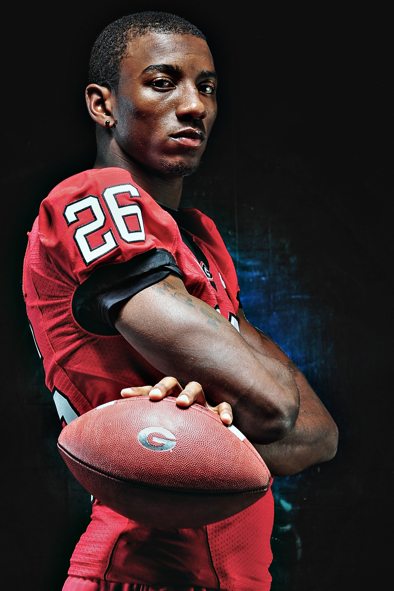 Malcolm Mitchell poses for a portrait in Athens, Ga., Wed., Oct. 31, 2012. (AJ Reynolds/The Athens Banner-Herald)