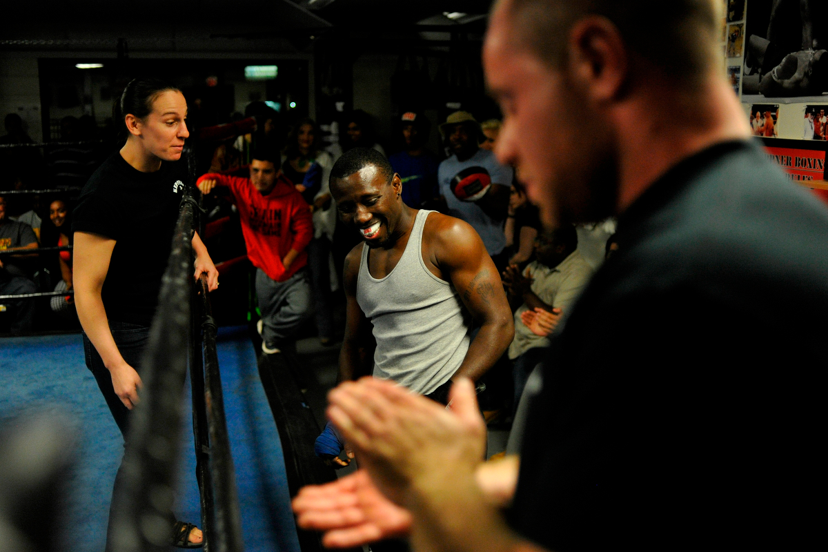 Tim Hall, center prepares to take the ring while during an fundraising event at Keppner Boxing on Saturday, Oct. 25, 2014, in Athens, Ga. The event commemorated the 10th anniversary of Tim Hall's first professional fight and all proceeds benefitted Project Safe. (AJ Reynolds/Staff, @ajreynoldsphoto)