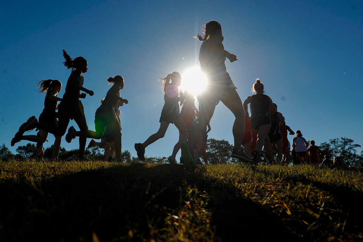 Varsity girls cross country runners compete in the Clarke/Oconee Area Championship on Tuesday, Oct. 21, 2014, in Athens, Ga. (AJ Reynolds/Athens Banner-Herald)
