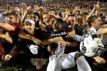 South Carolina cornerback Chris Lammons (3) celebrates in the South Carolina student section after the second half of the game between South Carolina and Georgia on Saturday, Sept. 13, 2014, in Columbia, South Carolina. South Carolina won 38-35. (AJ Reynolds/Staff, @ajreynoldsphoto)