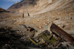 A Russian armored vehicle lies abandoned in a ditch at the entrance to the tunnel under the Salang Pass in Afghanistan on October 11, 2007. The Soviets were continually ambushed at the tunnel which was a critical supply point between Kabul and the Soviet Union.