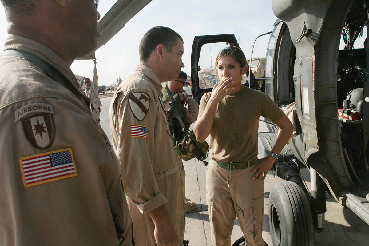 After the flight Specialist Shrode is debriefed. The soldier was killed as a result of the ambush on his convoy.