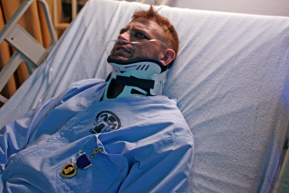 After receiving a Purple Heart from Major General McCarthy a wounded soldier recounts the attack that resulted in his wounds in Afghanistan at Landstuhl Regional Medical Center in Germany. The quick medical transportation system is efficient at treating physical wounds but the mental trauma suffered will take longer to treat.