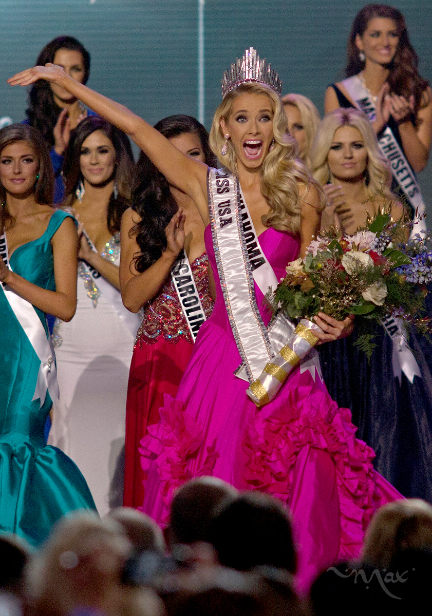 BATON ROUGE, LOUISIANA. Miss Oklahoma reacts as she wins the 2015 Miss USA contest at The Baton Rouge River Center in Baton Rouge, Louisiana. The pageant is especially controversial this year after co-owner of Miss Universe, Donald Trump, made disparaging remarks about Mexican immigrants. (Max Becherer/Polaris Images)