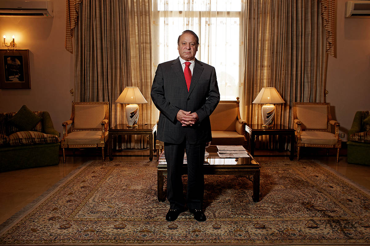 ISLAMABAD, PAKISTAN. Nawaz Sharif, Prime Minister of the Islamic Republic of Pakistan, stands for a photo at the Prime Minister's residence in Islamabad, Pakistan on Thursday August 15, 2013. Prime Minister Sharif is starting his third term as the elected Prime Minister of Pakistan. His last term as Prime Minister came to an abrupt end when General Pervez Musharraf led a military coup against him in 1999.