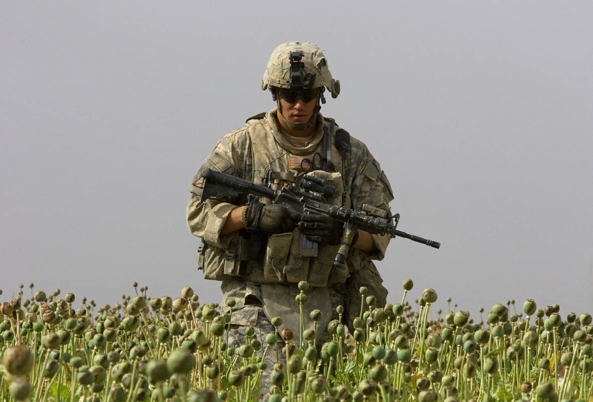 KANDAHAR, AFGHANISTAN. {quote}Kill Team{quote} leader Staff Sgt. Calvin Gibbs walks through a poppy field during a patrol to investigate one of the killings of an Afgha civilian he was connected to.