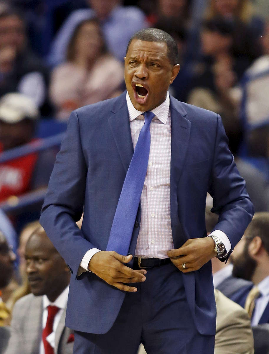 New Orleans Pelicans head coach Alvin Gentry directs his team from the bench in the first half of an NBA basketball game in New Orleans, Wednesday, Jan. 25, 2017. (AP Photo/Max Becherer)
