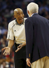 Referee Leon Wood talks to San Antonio Spurs head coach Gregg Popovich in the first half of an NBA basketball game in New Orleans, Thursday, March 3, 2016. The Spurs beat the Pelicans 94-86. (AP Photo/Max Becherer)