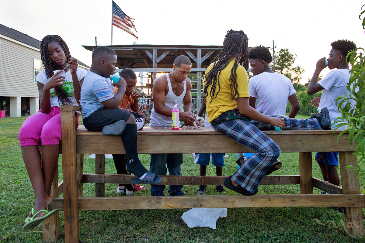 NEW ORLEANS, LOUISIANA. Marquell Williams, age 12, in pink at left, and other neighborhood kids who spend their time at the Running Bear Boxing club watch as Eric Patterson, age 28, washes newborn pit bull puppies that he has bred to sell in New Orleans, Friday, Aug. 14, 2015. The boxing club is run by a resident of the Lower 9th Ward to keep kids out of trouble. (AP Photo/Max Becherer)