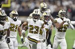 New Orleans Saints cornerback Marshon Lattimore (23) celebrates a fumble recovery during the first half of an NFL football game against the Dallas Cowboys in New Orleans, Sunday, Sept. 29, 2019.